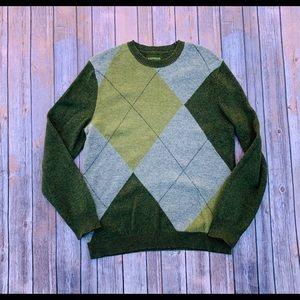 Green argyle sweater
